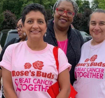 Rose Klapp (left) and supporters